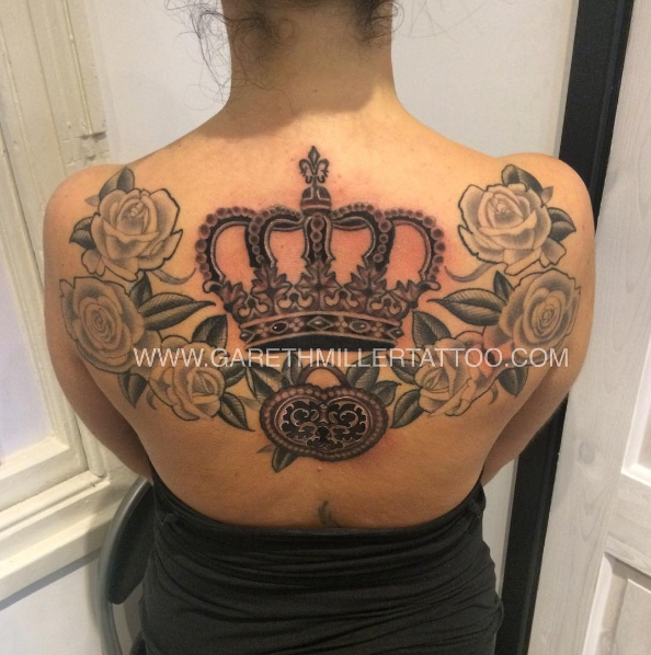 Black and grey crown back piece with roses