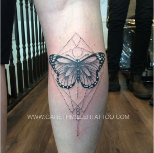 Black and grey dotwork butterfly