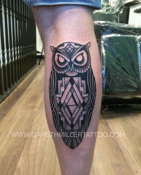 Black and grey geometric owl