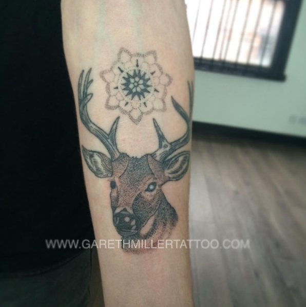 Dotwork stag with mandala